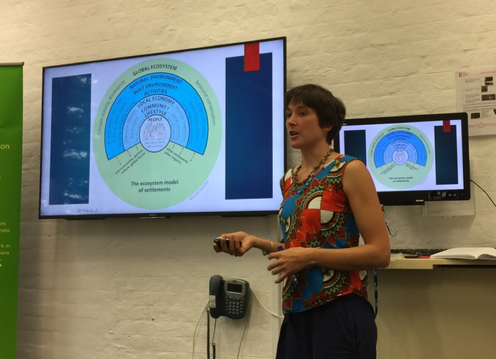 Pictured, Dr Sarah Walpole delivering teaching on the concept of 'planetary health'.