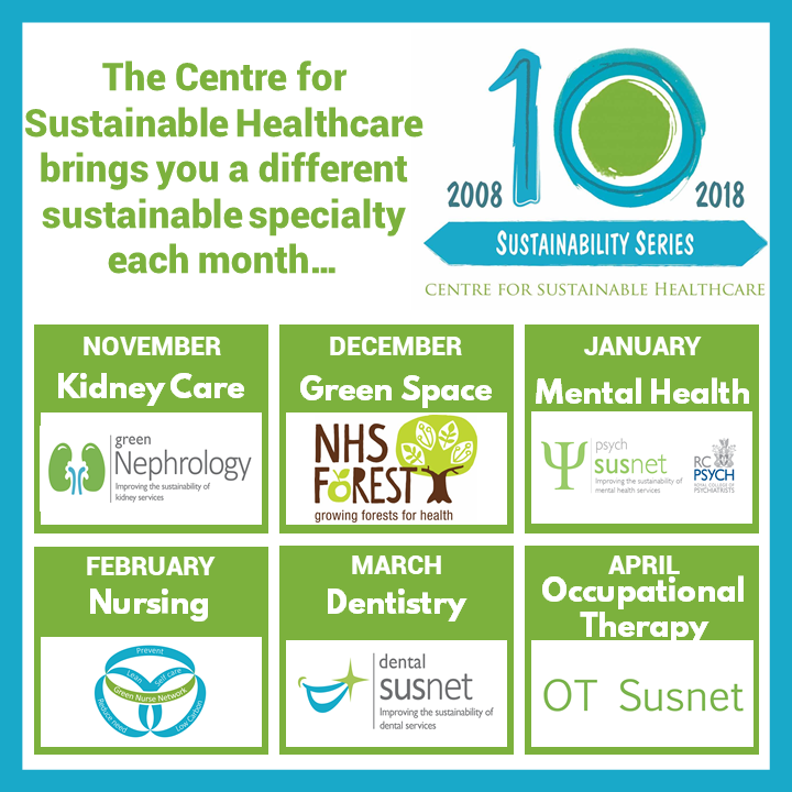 The Centre for Sustainable Healthcare brings you a different sustainable specialty each month... November: Kidney Care. December: Green Space. January: Mental Health. February: Nursing. March: Dentistry. April: Occupational Therapy.