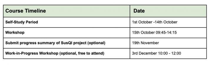 SUSQI course timeline