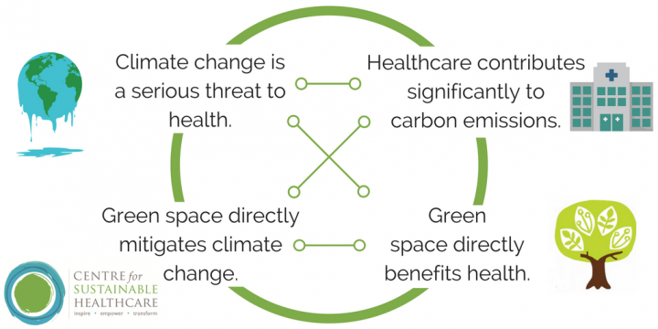 Green Space directly mitigates climate change and directly benefits health. Climate change is a big health risk and healthcare is a significant source of carbon emissions.